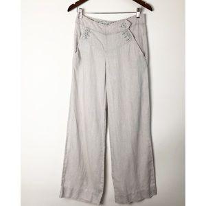 Anthro Elevenses linen wide leg pants